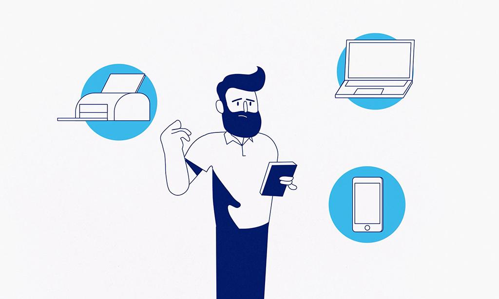 Illustration av man, skrivare, laptop, mobil