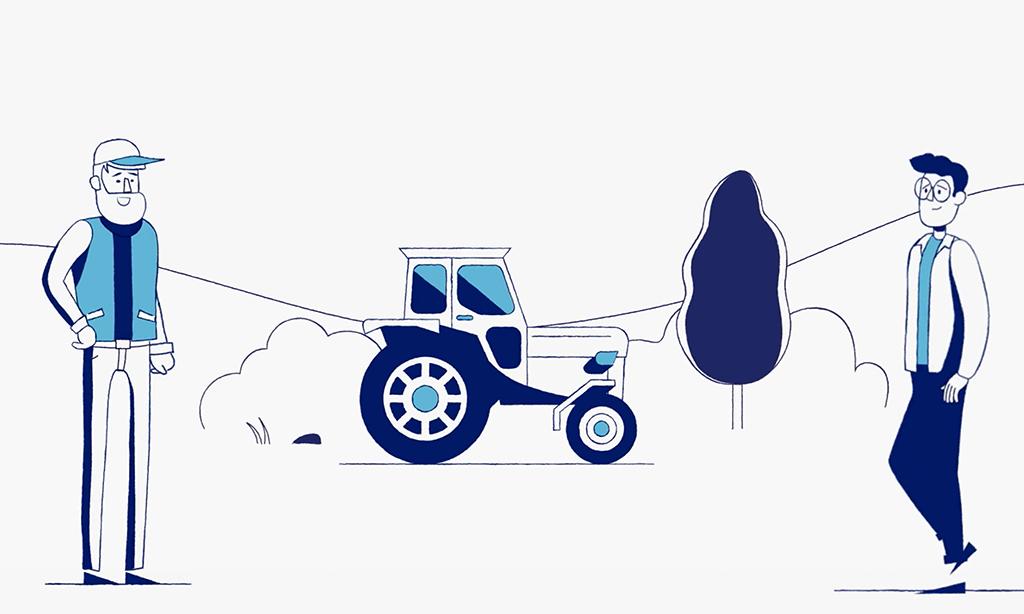 Illustration av traktor och två män på åker